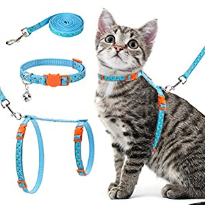 Mihachi Cat Harness with Leash Collar Set – Summer Style High Blue-Green with Cute Pineapple Pattern – Escape Proof and…