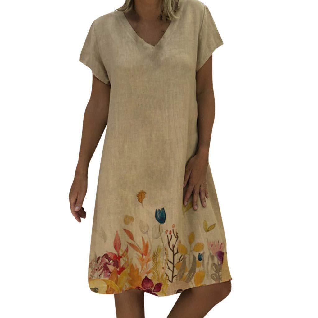 2019 Summer Women Casual Floral Print Dresses,V-Neck Short Sleeve T-Shirt Loose Beach Dresses S-3XL (Khaki, XXL) by Tanlo (Image #1)
