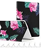 GVIEWIN Compatible for iPad 9.7 Case, Slim Lightweight Anti-Scratch Shell Adjust Stand with Auto Sleep/Wake, Back Protector Friendly Cover for 9.7 Inch 5th/6th Generation (Dark Forest/Pink)