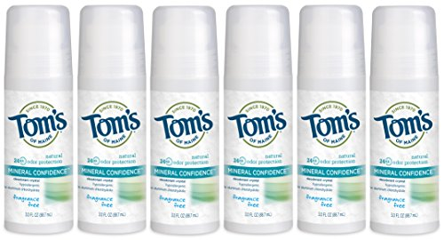 Tom's of Maine Natural Confidence Roll-On Deodorant, Fragrance-Free, 3 Ounce, (Pack of 6) (Maine Crystal)
