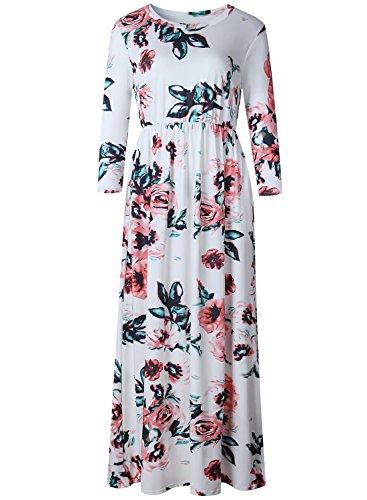 Women Long Sleeve Cotton Linen Casual Long Maxi Kaftan Hippie Dress - 4