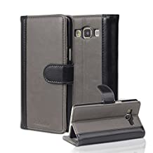 Cadorabo - Book Style Wallet Case for Samsung Galaxy A5 (Model 2015) in Two-Colored Stripe Design with 3 Card Slots, Money Pouch and Stand Function - Etui Case Cover Protection in GREY-BLACK