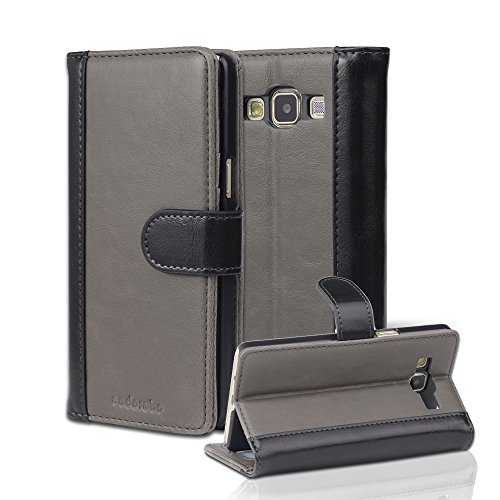 Cadorabo Case Works with Samsung Galaxy A5 2015 (5) Book Case in Grey Black (Design Bicolor) - with Magnetic Closure, Stand Function and Card Slot - Wallet Case Etui Cover Pouch PU Leather Flip