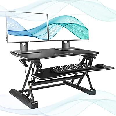 FEZIBO Standing Desk Converter, Height Adjustable Sit Stand Desk Riser, Computer Workstation