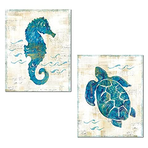 Lovely Nautical Turquoise and Cream Turtle and Seahorse Ocean Set by Sue Schlabach; Coastal Decor; Two 14x11in Unframed Paper - Seahorse Wall Decor