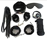 JMS Adult Game 7-pcs Set Handcuffs Gag Nipple Clamps Whip Collar Erotic Toy Leather Fetish Sex Bondage Restraint Sex Toy for Couples Black one Size