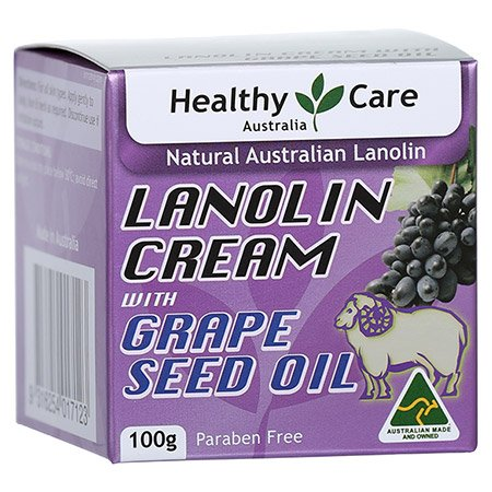 Healthy Care Lanolin Cream with Grape Seed Oil 100g (Made in Australia) (Healthy Care Lanolin Cream With Grape Seed)