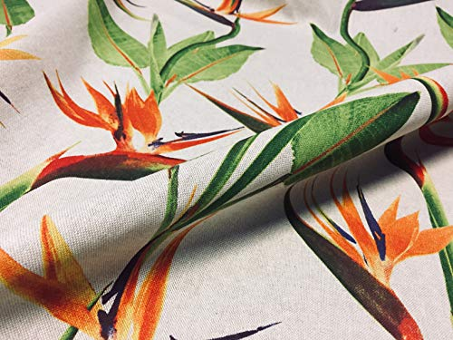 (LUSHFABRIC Bird of Paradise Ginger Plant Floral Fabric Tropical Orange Curtains Upholstery - 55'' Wide (Sold by The Yard))