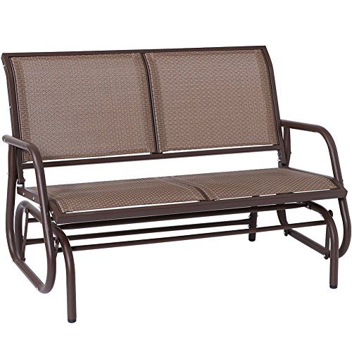 Outdoor Swing Glider Chair, Superjare Patio Bench for 2 Person, Garden Rocking Seating - Brown - Glider Outdoor Bench