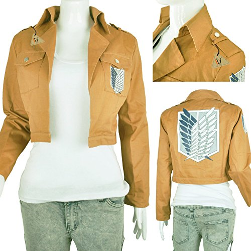 Khaki Anime Attack on Titan Jacket Coat Cosplay Costumes Clothes, XL]()
