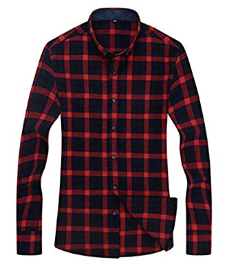 Papijam Mens Vintage Cotton Long Sleeve Plaid Button Down Dress Shirt