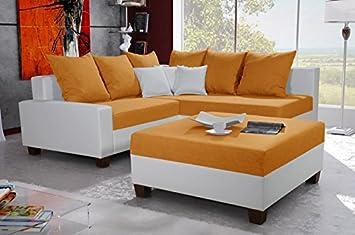 Sonja Grande Naranja y Blanco de Piel sintética y Tela sofá ...