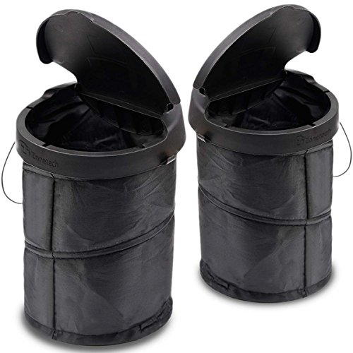 Driver Car Seat Costume (Zone Tech Universal Traveling Portable Car Trash Can - 2-Pack Black Collapsible Pop-up Leak Proof Trash Can)