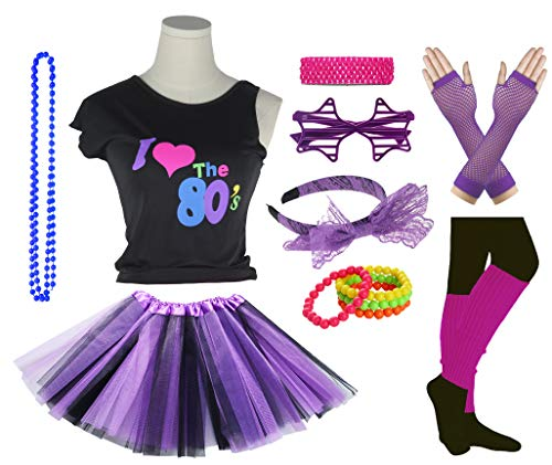 Girls I Love The 80's Disco T-Shirt for 1980s Theme Party Outfit (Black&Purple, 14-16 -