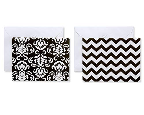 American Greetings Black and White Chevron and Damask Note Cards and White Envelopes, 50-Count (Stationery Chevron Set)