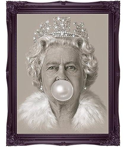 Queen Elizabeth Ii Bubblegum Art Print Picture Poster Print Wall Art Pop Art Modern Art Queen Art British Art Home Decor 16 X 12 A3