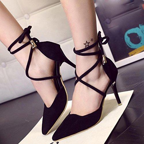 Ankel Gladiator Komfortabel Clode® Pu Sandaler Skinn Sandaler Damer Kvinners Stiletto Svart Jenter Strappy gvwH8Ipq