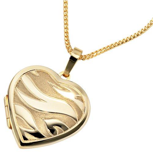 Bijoux pendentif médaillon coeur de femmes de 585 or jaune givré de hauteur 30 mm, largeur 28,9 mm environ