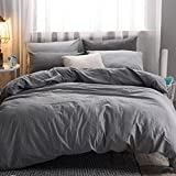 queen duvet cover grey - MooMee Home Collection Washed Cotton 3 Pieces Solid Duvet Cover Set, Includes 1 Comforter Cover 2 Pillow Shams Dark Grey Queen Size