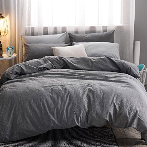 MooMee Home Collection Washed Cotton 3 Pieces Solid Duvet Cover Set, Includes 1 Comforter Cover 2 Pillow Shams Dark Grey Queen (Duvet Cover Dimensions)