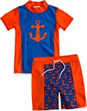 Vaenait Baby Boys 2T-6T Short Sleeve Swimsuit Swim Trunks 2 Pieces Set Marine Orange XL