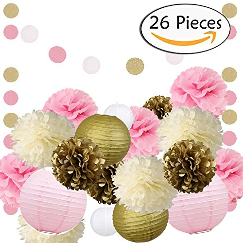 Wedding Party Decorations 26 PCS Pink Gold Pink Cream Tissue Pom Poms Paper Flowers Paper Lanterns for 1st Birthday Baby Shower Decorations