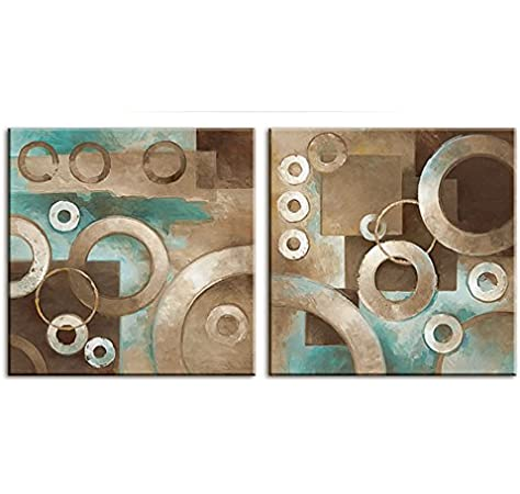 Amazon Com Decor Well Modern Abstract Teal And Brown Canvas Art Modern Prints Stretched For Home Decor Posters Prints