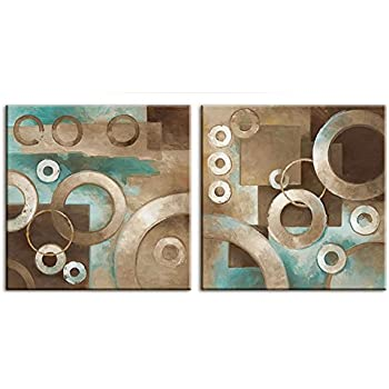 Decor Well Modern Abstract Teal and Brown Canvas Art Modern Prints Stretched for Home Decor