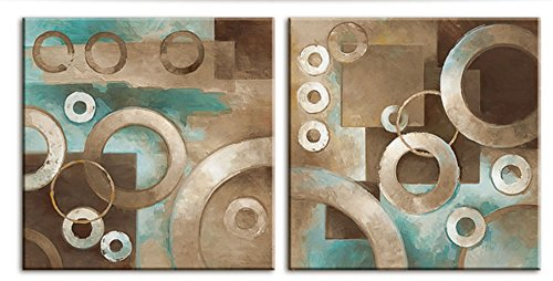 Decor Well Modern Abstract Teal and Brown Canvas Art Modern Prints Stretched for Home Decor (Teal And Brown Wall Art)