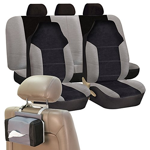 (FH Group FH-FB103115 Leather/Velour High Back Seat Covers Gray/Black (Airbag Ready & Split Bench) W. FH1133 E-Z Travel Car Tissue Dispenser Case -Fit Most Car, Truck, Suv, or Van)