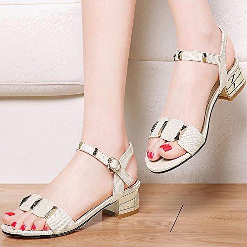 Señoras sandalias de cuero con pendiente toe zapatillas Sandalia de Verano 39, negro Beige
