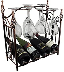 Grapevine Design 4 Wine Bottle Storage Rack Bronze Metal With Wine Glass Holders By Bogo Brands