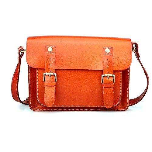 Kinglang Women Genuine Leather Vintage Satchel Bag Crossbody Purse Kl-qyw3147-orange