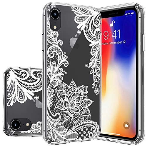 (Huness Apple iPhone XR Case TPU Grip Bumper and Transparent Hard PC Backplate Hybrid Slim (Clear Flower))