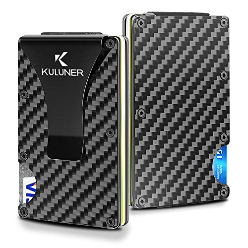Carbon Fiber Wallet - Money Clip Front Pocket Wallet - Slim Minimalist Wallet RFID Blocking- Credit Card Holder for Men and Women Business Card Holder RFID Wallet Metal Wallet