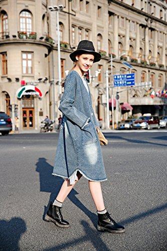 You.U 2017 Moda Mujer Outfit Chaqueta larga / Abrigo Abierto con Botón de Metal, Denim Lavado y Hembra y Hembras de Corte Sin Punta, Bordado Floral en la Espalda Blau