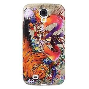 Conseguir Shimmering Tiger Ground y Lady Plástico Cubierta suave de protección para el Samsung Galaxy S4 i9500