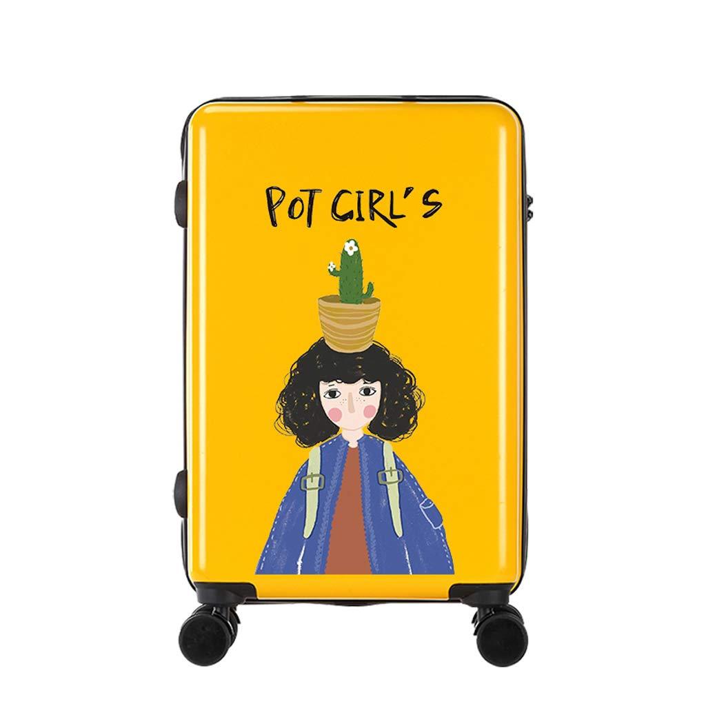 18インチ/ 20インチ/ 24インチ/ 26インチ荷物トロリーケース女性漫画スーツケース (色 : イエロー いえろ゜, サイズ さいず : 20INCH) 20INCH イエロー いえろ゜ B07L79D9LR