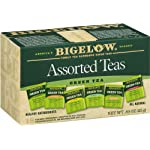 Bigelow 6 assorted green tea bags, 18-count box (pack of 6), caffeinated green tea, 108 tea bags total 8 healthy antioxidants: enjoy the health benefits of green tea with this delightful variety pack, containing: classic green tea, green tea with peach, green tea with lemon, green tea with mint, decaffeinated green tea, and green tea with pomegranate. Individually wrapped: bigelow tea always come individually wrapped in foil pouches for peak flavor, freshness, and aroma to enjoy everywhere you go! Gluten -free, calorie-free, & kosher certified; bigelow tea delivers on all the health benefits of tea. Try every flavor: there's a bigelow tea for every mood and every time of day. Rise and shine with english breakfast, smooth out the day with vanilla chai, get an antioxidant boost from green tea, or relax & restore with one of our variety of herbal teas.