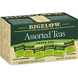 Bigelow 6 Assorted Green Tea Bags, 18-Count Box (Pack of 6), Caffeinated Green Tea, 108 Tea Bags Total 1 HEALTHY ANTIOXIDANTS: Enjoy the health benefits of green tea with this delightful variety pack, containing: Classic Green Tea, Green Tea with Peach, Green Tea with Lemon, Green Tea with Mint, Decaffeinated Green Tea, and Green Tea with Pomegranate. INDIVIDUALLY WRAPPED: Bigelow tea always come individually wrapped in foil pouches for peak flavor, freshness, and aroma to enjoy everywhere you go! Gluten -free, calorie-free, & Kosher certified; Bigelow tea delivers on all the health benefits of tea. TRY EVERY FLAVOR: There's a Bigelow Tea for every mood and every time of day. Rise and shine with English Breakfast, smooth out the day with Vanilla Chai, get an antioxidant boost from Green Tea, or relax & restore with one of our variety of herbal teas.