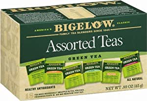 Bigelow 6 Assorted Green Teas, 18-Count Boxes (Pack of 6)