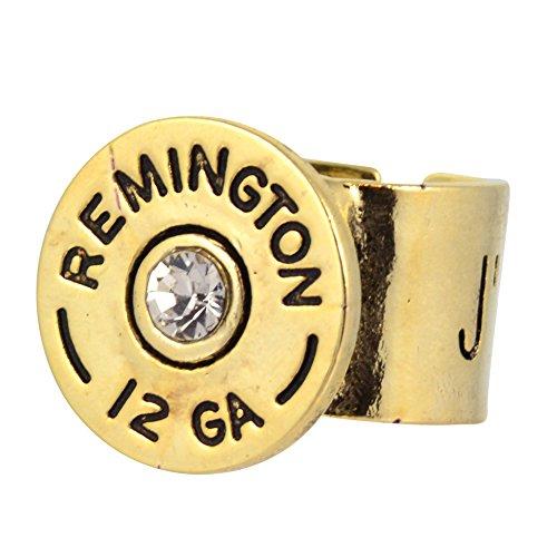 Design Clear Swarovski Crystal Ring - Southlife - Lizzy J's Gold Plated 12 Gauge Shotgun Shell Ring with Clear Swarovski Crystal