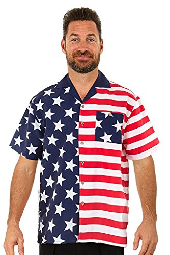 UZZI Mens USA Flag Hawaiian Shirt HPUSA2 L