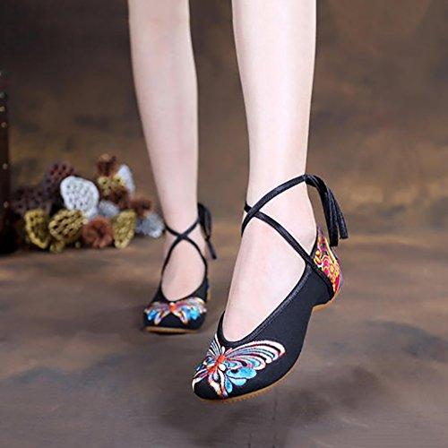 Morbido fondo da altezza Pechino in Ricamo LJYBX tela donna Scarpe di scarpe Slope Aumentare custom tela Old singole fiore lino scarpe di sandali Black folk Bandages Scarpe U5qTnZ5
