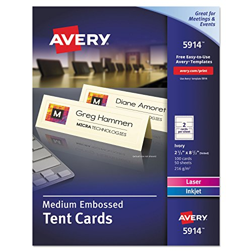 Avery(R) Embossed Tent Cards, 2 1/2in. x 8 1/2in, Ivory, Pack Of 100 by Avery