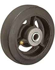 RWM Casters Mold-On Rubber on Iron Wheel, Roller Bearing, 300-Pounds Capacity, 5-Inch Wheel, Dia, 1-1/2-Inch Wheel, Width, 1-7/8-Inch Plate Length