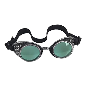 OMG _ tienda antiguo marco plateado gafas de Steampunk Vintage Victorian soldadura Cosplay Goth Punk disfraz, Verde: Amazon.es: Deportes y aire libre