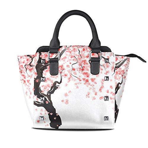 Use4 Women's Japanese Cherry Blossom Tree Rivet PU Leather Tote Bag Shoulder Bag Purse