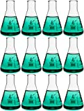 Case of 12-250mL Erlenmeyer (Conical) Flasks, Glass - Premium Borosilicate 3.3