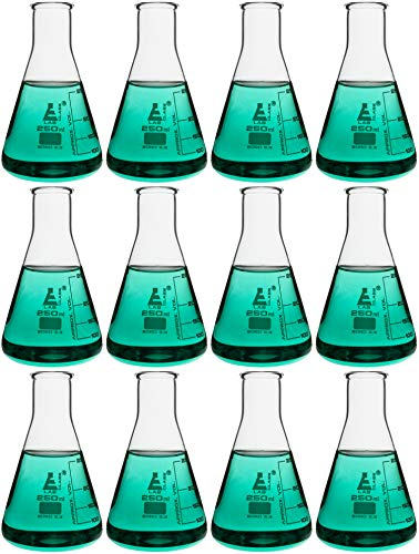 (Case of 12-250mL Erlenmeyer (Conical) Flasks, Glass - Premium Borosilicate 3.3)